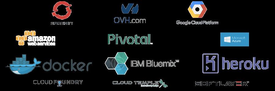 Logo des différentes technologies utilisées par la plateforme